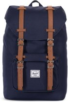 Herschel Supply Co. Little America Mid-Volume Rugzak - Peacoat / Tan Synthetic Leather