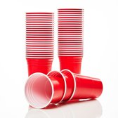 Lumaland - Partybekers - Beer Pong drinkbekers - 100 stuks - 473 ml (16 oz) - extra sterk - Rood