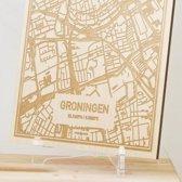 Kaart Groningen -  Gegraveerde stadskaart Hood&Wood - Hout, A4