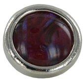 Quiges - Verzilverde Aanschuif Charm Bedel Kunstparel Rood voor Quiges Wikkelarmbanden - EHC209