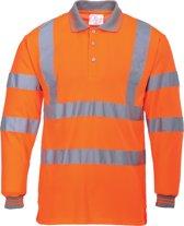 Hi-Vis Poloshirt Oranje met lange mouw en reflectie strepen Maat 2XL.