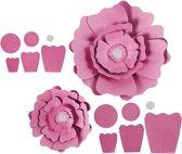 Papieren bloemen, d: 15+25 cm, 230 gr, roze, 2stuks