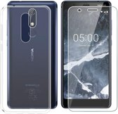 Nokia 5.1 Hoesje Transparant  TPU Siliconen Soft Case + 2X Tempered Glass Screenprotector