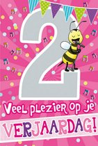 Cijferkaart met muziek 2 Jaar Veel plezier op je Verjaardag! Roze