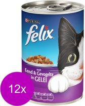 FELIX Blik Met Gelei - Eend en Gevogelte - Kattenvoer - 12 x 400 gr