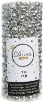 Zilveren kerstversiering discobal kralenketting 700 cm