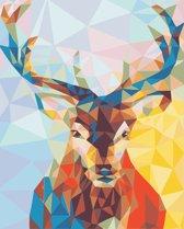 Joeni® – Schilderen op nummer – 40x50cm – Geschenkverpakking – Geometrisch Hert – Los Canvasdoek