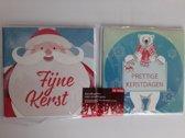 10 Kerstkaarten met enveloppen - kerstman en ijsbeer met glitter - 10 luxe kerstkaarten