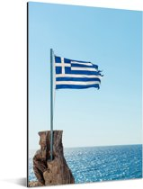 Griekse vlag voor de blauwe zee Aluminium 40x60 cm - Foto print op Aluminium (metaal wanddecoratie)