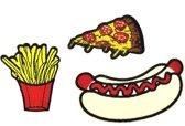 Strijk embleem 'Junkfood patch set (3)' – stof & strijk applicatie