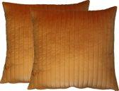 Kussoo 2 van 2 Fluweel Sierkussens - 50x50 cm - Okergeel