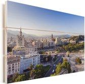 Cityscape van Málaga Vurenhout met planken 90x60 cm - Foto print op Hout (Wanddecoratie)