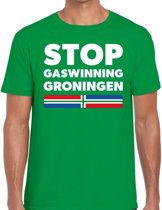 Groningen protest t-shirt STOP gaswinning Groningen groen voor heren -  Grunnen shirt voor heren 2XL