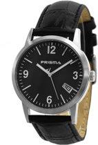 Prisma Herenhorloge P.2175 Lederen band Zilver