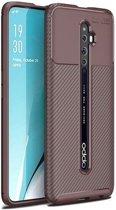 Teleplus Oppo Reno 2Z Case Negro Carbon Silicone Brown + Nano Screen Protector hoesje