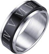 Stalen Spinning ring met Romeinse Cijfers-18mm