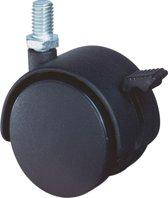 Kelfort Meubelzwenkwiel 40mm zwart kunststof met rem en verzinkte draadstift t40kg m8x15 (Prijs per 2 stuks)