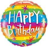 Folieballon 'Happy Birthday' Regenboog - 46 centimeter