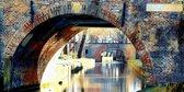 De Paulus brug over de Nieuwe gracht in Utrecht in olieverf look | sfeer, modern | Foto schilderij print op Canvas (canvas wanddecoratie) | 120x60cm