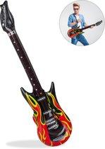 relaxdays Opblaasbare gitaar vlammen opblaas gitaar luchtgitaar rock-'n-roll