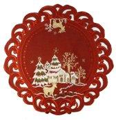Kerstkleed Linnenlook - Hert - Rood - Rond - 40 cm