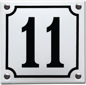 Emaille huisnummer wit/zwart nr. 11