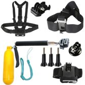 6-in-1 Sports Accessoires Set Groot (Head, Chest en Wrist Strap, Selfie stick, Bobber en Base Adapter) voor Go Pro 3 4 5 Hero, SJCAM, Xiaomi, GitUp, Eken en meer camera´s