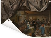 Het leven van de mens - Schilderij van Jan Steen Tuinposter 160x120 cm - Tuindoek / Buitencanvas / Schilderijen voor buiten (tuin decoratie) XXL / Groot formaat!