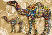 Fotobehang Camels Flowers Abstract Colours | PANORAMIC - 250cm x 104cm | 130g/m2 Vlies
