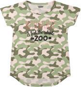 DJ Dutchjeans Meisjes T-shirt - Faded light pink + army green aop - Maat 128