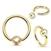 Tepelpiercing ring gold plated multi kleur steentje