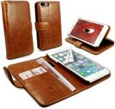 Tuff-Luv - Vintage Genuine leren portemonnee Case , Apple iPhone 8 Plus met screenprotector - Bruin