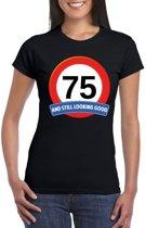 Verkeersbord 75 jaar t-shirt zwart dames S