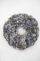 Viv! Home Luxuries Hortensia krans - zijde - grijs blauw - herfst - 46cm - topkwaliteit