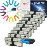 M & C Color Pro Anti kern & cilindertrek cilinder  32/32 set van 9 stuks skg***  gelijksluitend incl. 9 color Pro  sleutels.