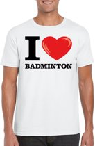 I love badminton t-shirt wit heren M