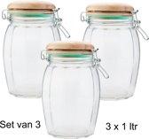 Decoratieve - Glazen voorraadpot - inhoud 1 liter - Voorraad - pot - 3 stuks