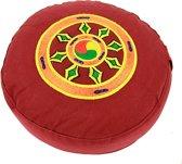 Meditatiekussen rood dharmawiel geborduurd (33x17cm)