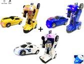3x Robot Car 2 in 1 robot en auto - Voordeel pack van 3 stuks - speelgoed transform robots incl. batterijen