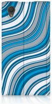 Sony Xperia L1 Standcase Hoesje Design Waves Blue
