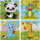 4 Houten Puzzels van 9 stukjes | Legpuzzels | Dieren: Panda, Kikker, Olifant en Giraffe | Kinderen | Peuters | Baby's