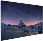 Winterlandschap bij nacht Glas 30x20 cm - Foto print op Glas (Plexiglas wanddecoratie)