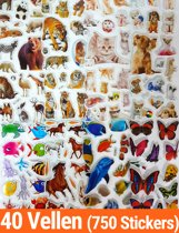 Stickers 40 Vellen Dieren | 750 Stuks Voor Kinderen | 3D Foam Paarden Dino Katten en veel meer | KMST009