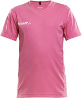 Craft Squad Jersey Solid SS Shirt Junior  Sportshirt - Maat 122  - Unisex - roze/wit Maat 122/128