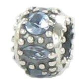 Quiges Bedel Bead - 925 Zilver - Zirkonia Blauw Kraal Charm - Z644