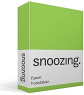 Snoozing - Flanel - Hoeslaken - Tweepersoons - 120x200 cm - Lime