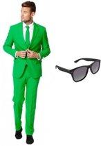 Groen heren kostuum / pak - maat 46 (S) met gratis zonnebril