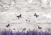Fotobehang Butterflies Lavender Flowers Vintage | M - 104cm x 70.5cm | 130g/m2 Vlies