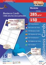 6x Decadry visitekaarten MicroLine 85x54mm, 285 g/m², 150 kaartjes