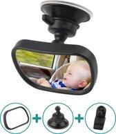 SmartKids- 360° verstelbare spiegel voor in de auto - Meer zicht op je kind of baby - Autospiegel met een extra sterke zuigknap